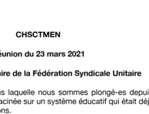 CHSCT Ministériel – La FSU fait voter 2 avis en faveur de la santé des personnels