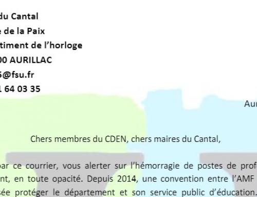 Hémorragie de postes dans le Cantal, la FSU 15 écrit aux maires et aux représentants du CDEN